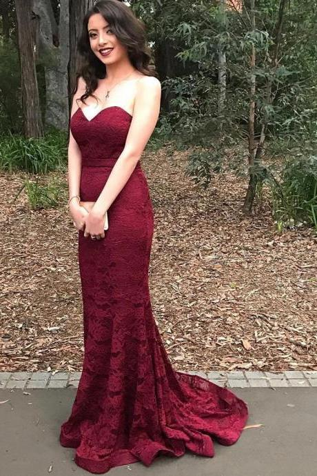 Eleg Glamour Lace Prom Dress,Red Mermaid Prom Dress,Long Prom Dresses ,New Arrival Prom Dress,Modest Prom Dress,burgundy Evening Gowns,wine Red Prom Dresses