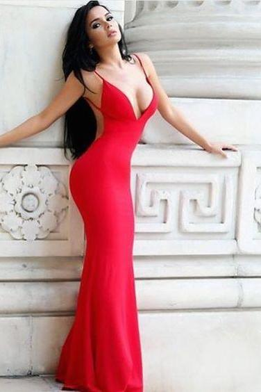 Charming Red Prom Dress,Sleeveless Prom Dresses,Red Evening Dress,Sexy Long Prom Dresses,Spaghetti Straps Evening Dresses,Floor Length Formal Gown