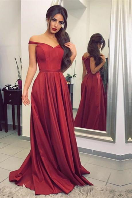 Classic Prom Gown,A-Line Prom Dress,Off Shoulder Prom Dress,Red Chiffon Prom Dress,Simple Long Prom Dress,Taffeta Evening Dresses,Formal Gown,