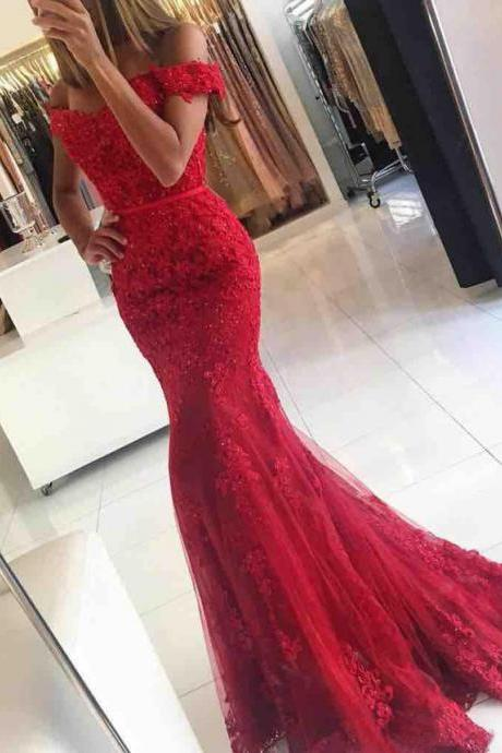 Off shoulder lace dress,Red Prom Dress,Real Made Prom Gowns,Lace Red Mermaid Prom Dress,Prom Gowns,Sexy Style Prom Dress,Long Evening Dress,Beaded Prom Evening Dress,Charming Party Dress,Formal Dress