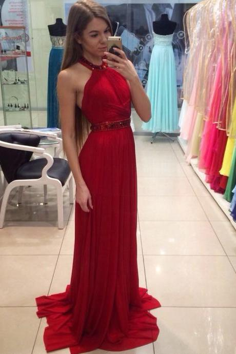 Charming Prom Gown,Red Prom Dresses,Evening Dress,Prom Dress,Prom Dresses,Cheap Prom Dress,Chiffon Prom Dresses,Rhinestone,Beading Dress