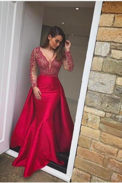2017 Sexy Prom Dress, Red Mermaid Prom Dresses, Detachable Train Long Evening Dress, Mermaid Prom Dress, Formal Gown ,Lace Evening Dresses