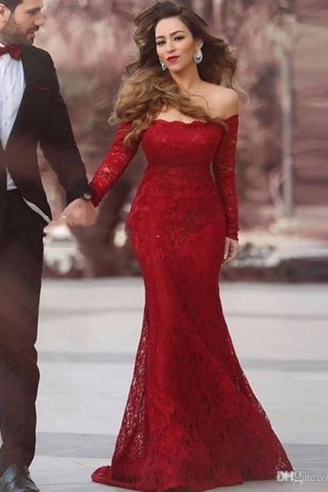 Elegant Red Lace Prom Dress, Long Sleeve Party Dress, Sexy Off The Shoulder Dark Red Party Dress, Celebrity Dresses, Lace Mermaid Gala Gowns, Floor Length Mermaid Prom Dress