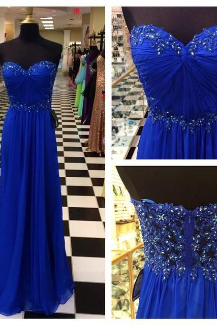 Sleeveless Royal Blue Prom Dress,Sweetheart Blue Prom Gown,Strapless Royal Blue Graduation Dress,Royal Blue Evening Party Dress,Chiffon Prom Dresses