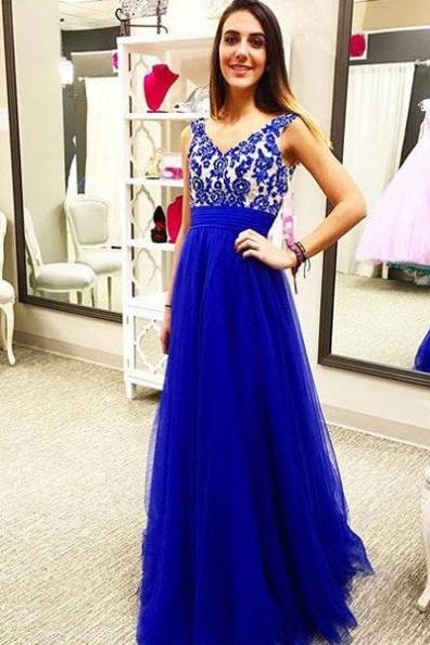 Royal Blue Lace Bridesmaid Dress,Embroidery Empire Waist A-line Prom Dresses Formal Gown,Rhinestone Prom Dresses,Formal Dress,Cheap Evening Dress,chiffon Prom Dress