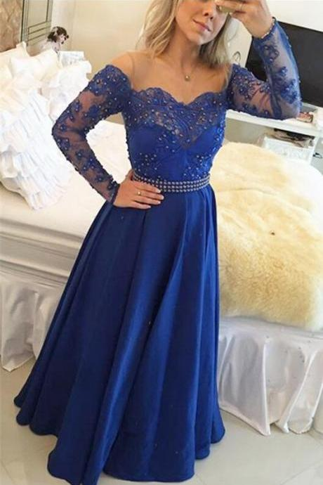 Beading Lace Evening Dress ,With Long Sleeves Royal Blue Prom Gowns, Modest Prom Dresses, Teens Formal Charming Prom Dress,Lace Bridesmaid Dress,Formal Dress,