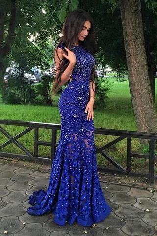 Charming Formal Royal Blue Beaded Long Mermaid Prom Dresses,Royal Blue Evening Dress, Formal Gowns,Backless Prom Dresses,Rhinestone Prom Dress,Lace Evening Dress,High Quality Evening Dress