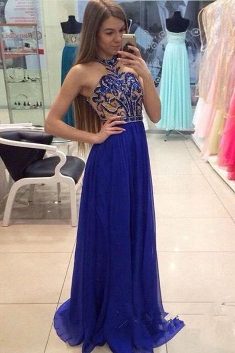 High Quality Hand-Made Beading Royal Blue prom dresses, A-line Halter Floor-length Chiffon Prom Dress, Evening Dress,Sexy Evening Dresses,Rhinestone Prom Dress