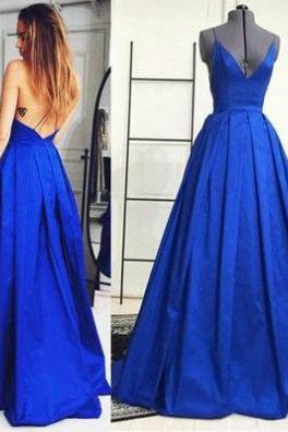 Glamorous Royal Blue Prom Dress,Royal Blue A-Line Evening Dress,Sleeveless Natural Backless Formal Gowns,Floor-Length Prom Dresses,Backless Prom Dresses,