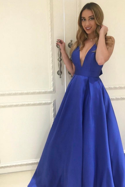 Sexy Prom Dress,Royal Blue Evening Dress,V-neckline Party Dress,Sexy Open Back Royal Blue Prom Dresses