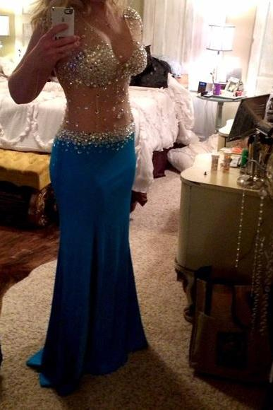 Rhinestone Mermaid Prom Gown,Royal Blue Prom Dresses,Royal Blue Evening Gowns,Beaded Party Dresses,Unique Prom Dress,Graduation Dress,