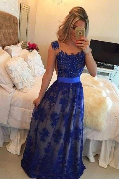 Classic A-Line Prom Dresses,Prom Gowns,Backless Prom Dresses,Royal Blue Prom Dress,Backless Formal Gown,Open Back Prom Dresses,Lace Prom Dress,