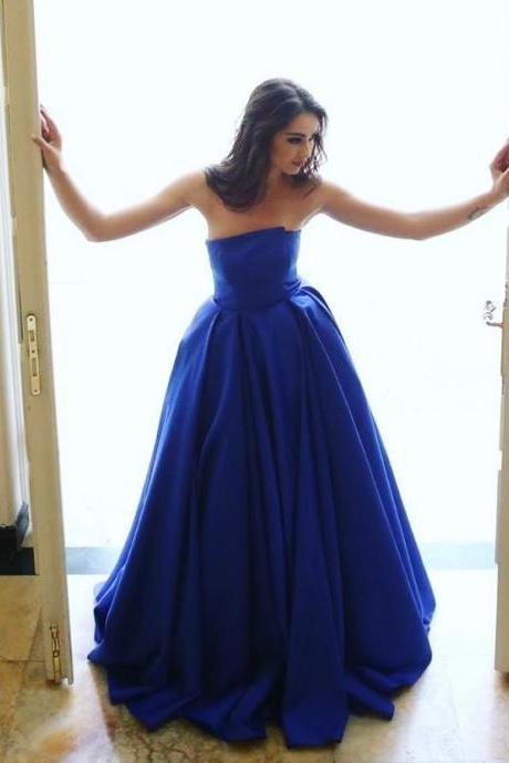 Unique Prom Dress,Royal Blue Party Dress,Satin Gowns,Strapless Puffy Evening Dresses ,Prom Gowns,Long Prom Dress,A-Line Prom Dresses ,2017 Evening Dress,