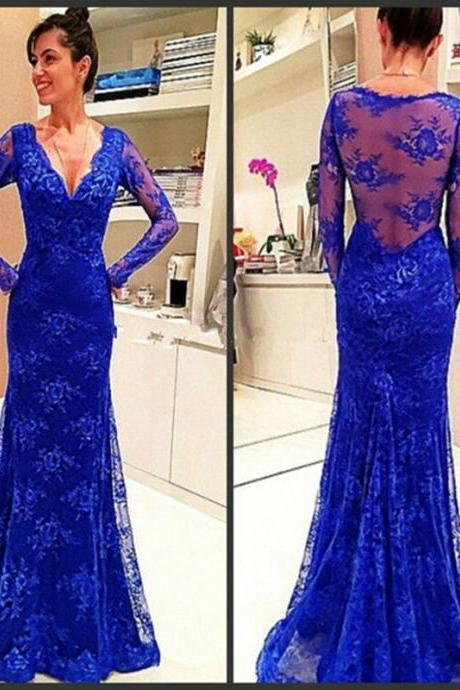 Glowing V-neck Prom Dresses ,Sexy Long Sleeves Formal Gowns, Mermaid Evening Dresses ,Long Royal Blue Pageant Dresses,Long Lace Prom Dresses,Prom Dresses 2017 long,Prom Dresses Custom,Formal Gowns Plus Size
