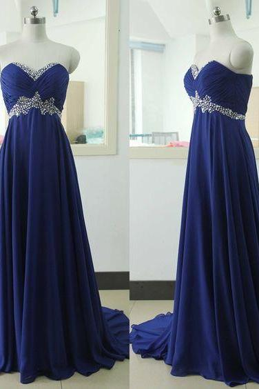 Royal Blue Prom Dresses,Royal Blue Prom Dress,Silver Beaded Formal Gown,Beadings Prom Dresses,Evening Gowns,Chiffon Formal dresses