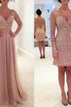 Unique Prom Dress, Arrival Custom Made Long Sleeve Evening Dress,Elegant Evening Dress,Tulle Evening Dress,Pink Evening Dress,A-Line Prom Dresses