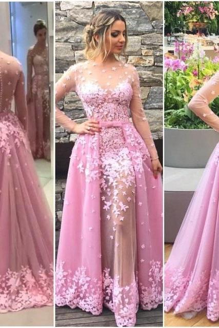 Unique Prom Dress,Prom Gown,Pink Prom Dresses,Evening Gowns,Pink Prom Dresses,Tulle Evening Gowns,Cheap evening dress,Lace Prom Dress,estido de fiesta Prom Dresses