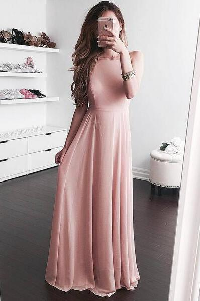 Classic Back Prom Dress,Blush Pink Evening Dress, Graduation Dress,Cheap evening dress,Chiffon Prom Dresses,Party Dress,Prom Gowns,