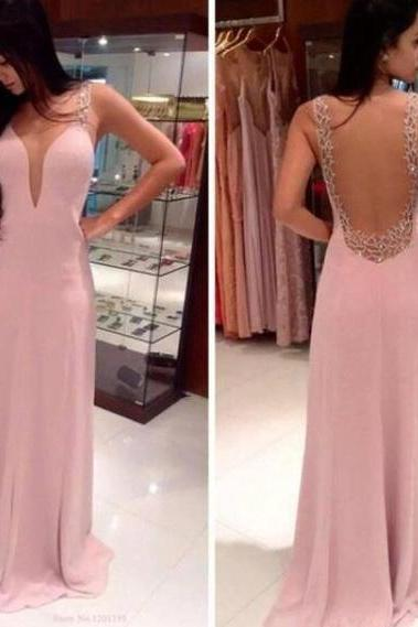 Sexy Prom Dress,Pink Backless Prom Dresses, Open Back Prom Gowns, Pink Prom Dresses 2018, Party Dresses 2018 ,Chiffon Prom Dresses,Backless Prom Dresses,