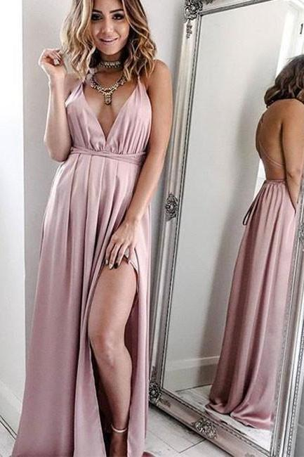 Sexy Evening Dress,Pink V Neck Long Prom Dress,Open Back Evening Dresses, Long Formal Gowns,Chiffon Prom Dresses,Fashion Dress,
