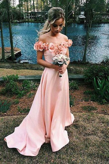 Petite Pink Off Shoulder Prom Dress,Long Satin Evening Dresses,Hand-Made Flower,Off-the-shoulder Prom Dresses,Formal Gowns,Graduation Dress,