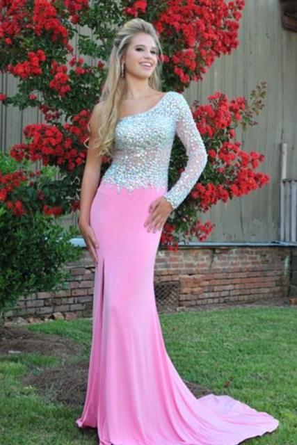 One Shoulder Prom Dress,Pink Prom Dresses,Evening Dress,Chiffon Prom Dresses,Prom Gowns,Rhinestone Formal Gowns,Unique Prom Dress,