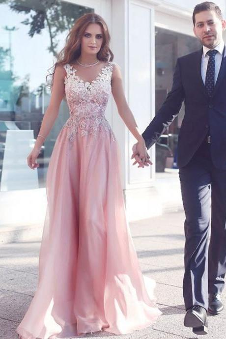 Cheap evening dress,Sexy Prom Dress,Pink Chiffon Prom Dress,Sleeveless Evening Gown,Floor Length Party Dress,Graduation Dress,A-Line Prom Dresses