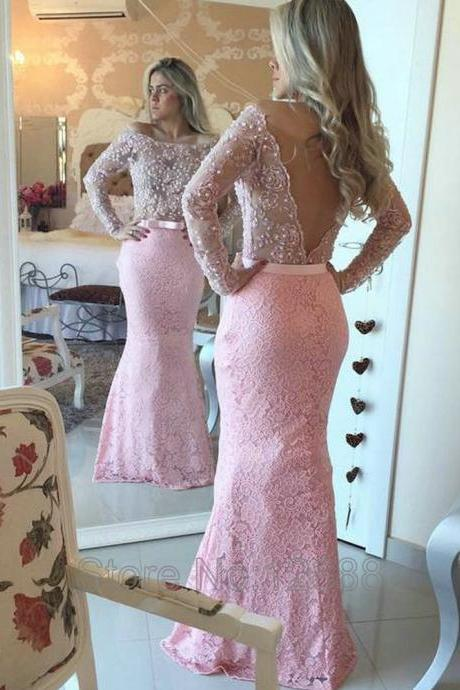 Pink Lace Prom Dress, Sexy Beading Evening Dress, V-Back Prom Dresses,Graduation Dress,V-Neck Prom Dress,Mermaid Prom Dresses,
