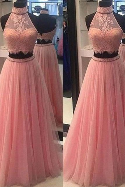 Charming Pink Two Pieces Lace A Line Halter Prom Dress,Sexy evening dress,Bridesmaid Dresses,Cheap evening dress,lace prom dresses,