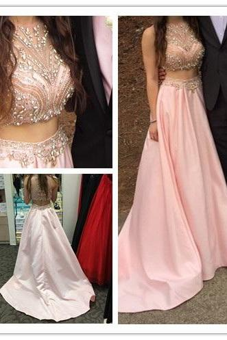 A-Line Prom Dresses ,Prom Dresses,2 Pieces Prom Gowns,Pink Prom Dresses,Long Prom Gown,Prom Dress,Mermaid Prom Gown,