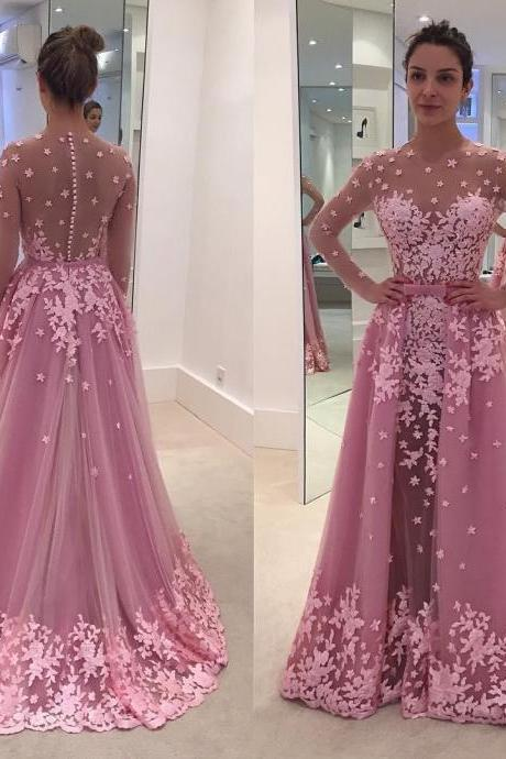 Pink Appliques Prom Dresses, Long Mermaid Prom Dress 2017, Long Sleeve Lace Evening Dresses, Sexy Sheer Prom Party Dresses, Arabic Dubai Style Party Dress, Long Pink Prom Dresses, Formal Elegant Evening Dress