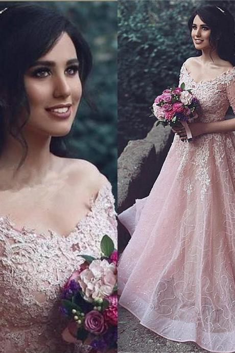Prom Dresses,Evening Dress,Prom Dresses,Prom Dress,Pink Evening Gown Ball Gown Tulle off the shoulder Prom Dress