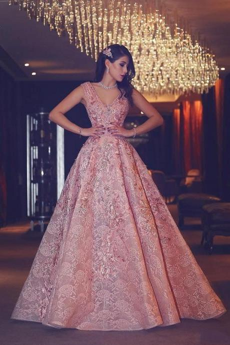 Luxury Evening Gown ,Flowers Graduation Dress,Puffy Pink V-Neck Beading Lace Evening Gowns,Long Prom Dress,Fashion Dress,Sexy Prom Dress,