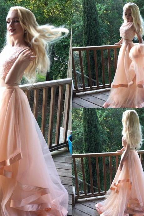 Beautiful Prom Dresses,Evening Dress,Party Dresses,Sexy 2 Pieces Prom Evening Dress,Beaded Bodice Prom Dress,Pink Ruffles Evening Party Gowns