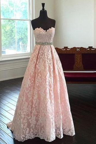 Gorgeous Strapless A-line Pink Long Lace Prom Dress Evening Dress,Fashion Dress,Evening Dress,Graduation Dress,Prom Gowns