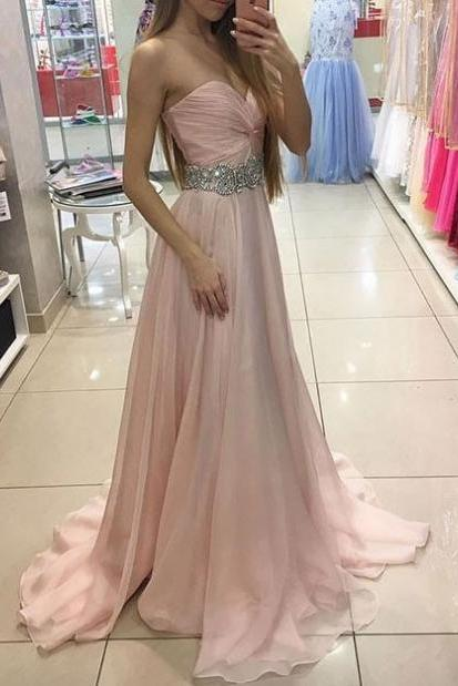 Pink Sweetheart Neck Chiffon Long Pom Dress For Grad,Evening Dress,Cheap evening dress,Sexy evening dress,Formal Gowns,