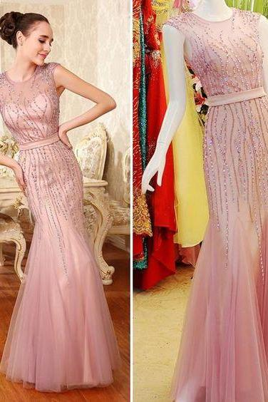2017, Pink evening dress , mermaid evening dress , heavy beads evening dress , sleeveless evening dress , pink formal dress for women, pink prom dress long 2017