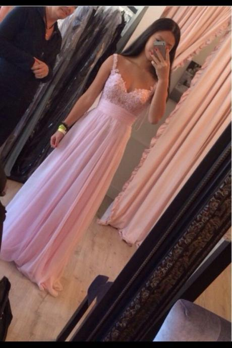 Elegant Lace Straps Pink Prom Dress,Lace Graduation Dress,A line Lace Evening Dress