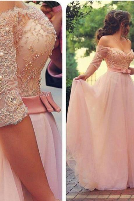 A-Line Prom Dresses ,Pink Prom Dresses,3/4 Length Sleeve Prom Dress,Glam Evening Dress,Lace Prom Dress,