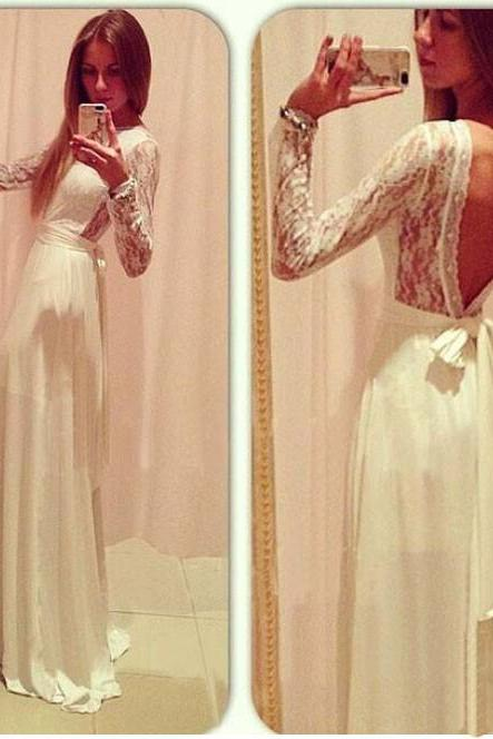 Charming Lace Prom Dress, Evening Dress, Popular Prom Dress, Backless Prom Dress, Prom Dress,Chiffon Prom Dresses,