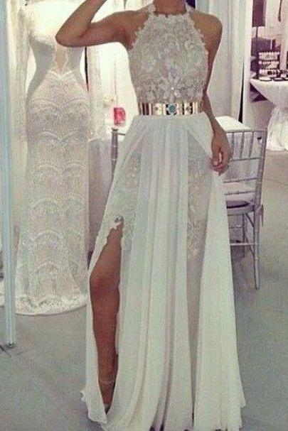 Sexy Prom Dress, Long Prom Dress, White Prom Dress, Formal Prom Dress ,Chiffon Prom Dress, Cheap Prom Dress