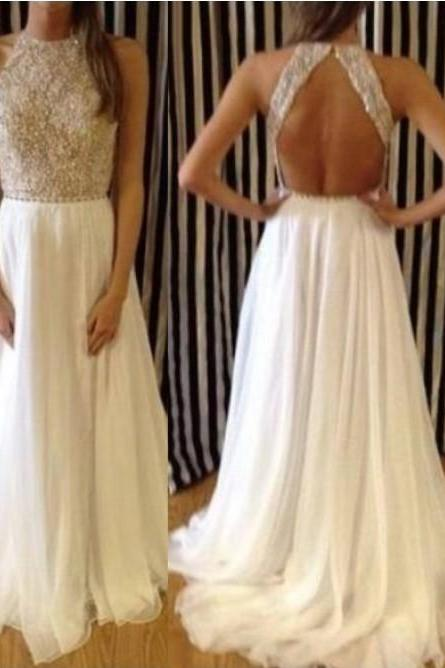 Backless Prom Dresses,,Prom Dress, Long Prom Dress, Chiffon Prom Dress, Beaded Top Prom Dress, Halter Prom Dress, Ivory Prom Dress