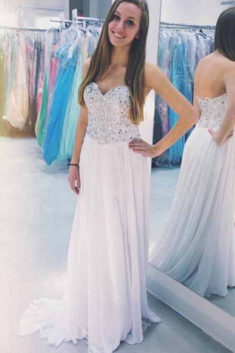 Charming Prom Dress,Sweetheart Prom Dress,Sequined Prom Dress,Chiffon Prom Dress,A-Line Prom Dress