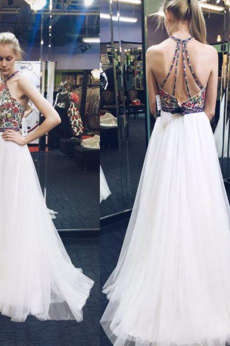 Nice A-Line Prom Dresses,Graduation Dress,Backless Prom Dresses,Charming White Evening Dress,White Prom Gowns,Open Backs Prom Dresses
