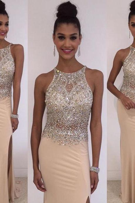 Champagne Beaded Prom Dress, Long 2017 Prom Dress, Sexy Prom Dress, Dresses For Prom, Sexy Prom Dresses
