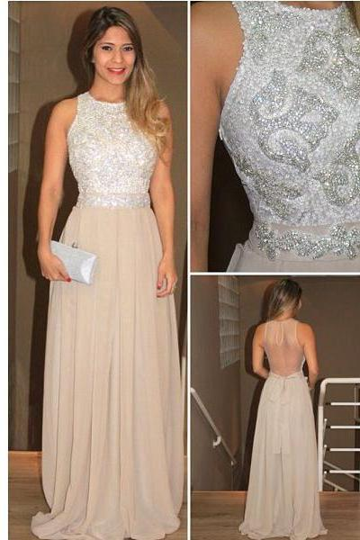 Long prom dress, champagne prom dress, charming prom dress, sparkle prom dress, backless prom dress, prom dress 2015, evening prom gown