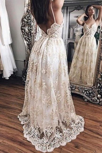 Hot sale Champagne A-Line Prom Dresses ,Graduation Dress,Formal Dress,Lace Evening Dress,2017 Prom Gown,Spaghetti Straps Lace Prom Dress,Cheap Prom Dress,