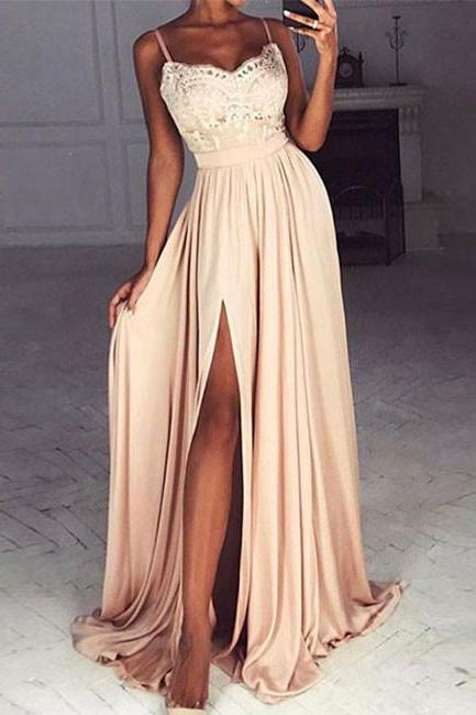 Spaghetti Straps Champagne Evening Dress,Chiffon Prom dress ,Elegant Evening gowns,Lace Prom Dress,Graduation Dress Slit Party Gowns,