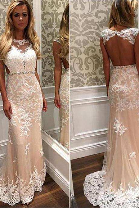 Long Prom Dress,Evening Dress,Chiffon Prom Dresses,Champagne Lace Prom Dresses Mermaid Style 2017 Modest Imported Party Dress Formal Evening Gowns