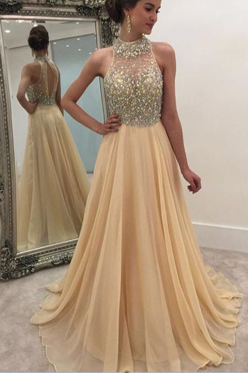 A-line Long Champagne Cap Sleeves Prom Dress, Backless Prom Dress, High Neck Champagne Prom Gown, Beaded Rhinestone Prom Dress